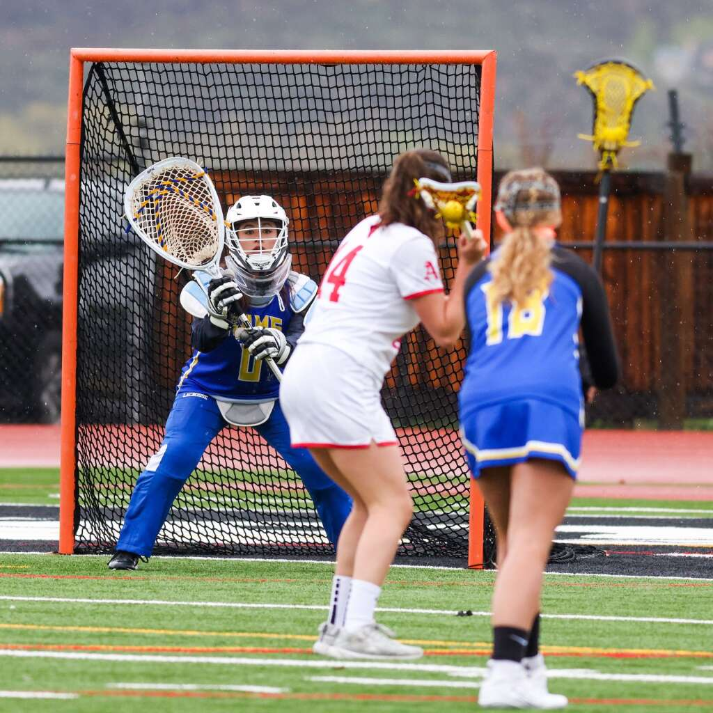 Aspen High School junior Mia Seltzer lines up for a shot and a key goal late in the girls lacrosse game against Roaring Fork on Monday, May 17, 2021, on the AHS turf. Photo by Austin Colbert/The Aspen Times.