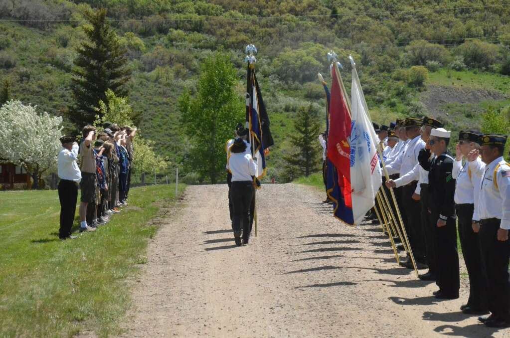 Local veterans take part in a Memorial Day ceremony, honoring Routt County's veterans on Monday. (Photo by Dylan Anderson)