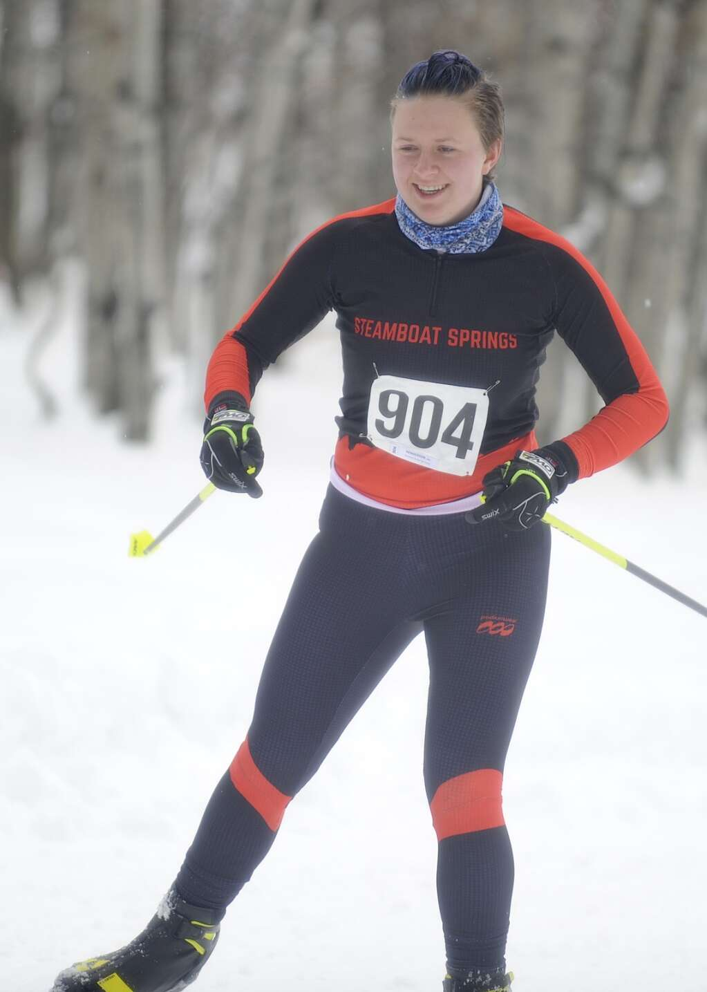 Steamboat Springs Nordic skier Jade Henderson is all smiles at a home race at the Steamboat Ski Touring Center on Friday afternoon. (Photo by Shelby Reardon)