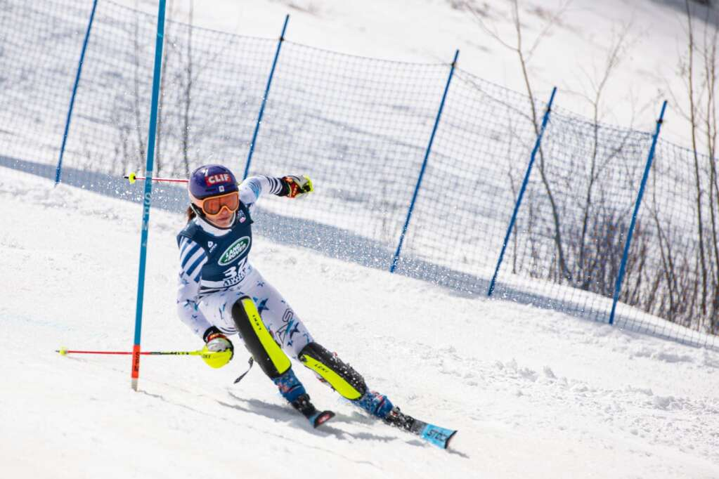 American alpine skier Lila Lapanja makes turns during the second run of the Women's Slalom National Championships at Aspen Highlands on Friday, April 16, 2021. (Kelsey Brunner/The Aspen Times)