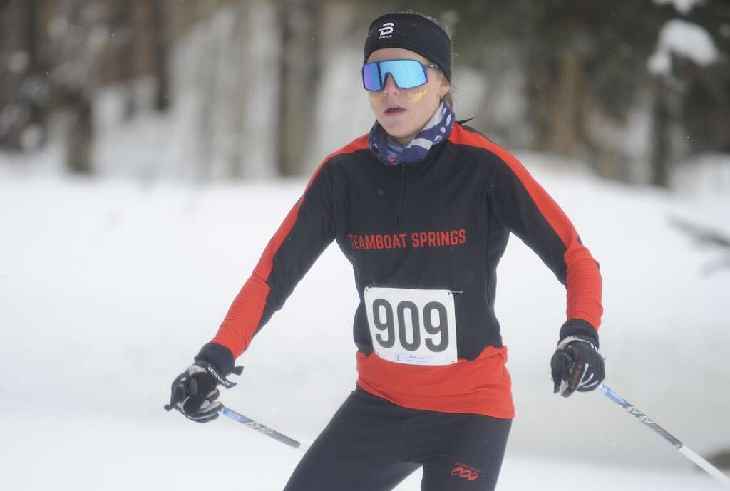 Steamboat Springs Nordic skier Caroline Bauer finished fifth at a home race at the Steamboat Ski Touring Center on Friday afternoon. (Photo by Shelby Reardon)