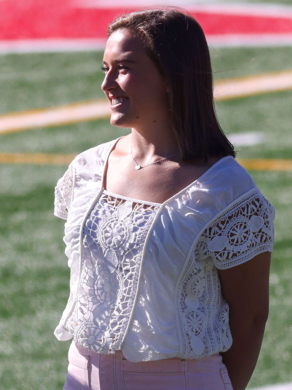 Grace Romero is recognized during the Aspen High School senior awards and local scholarship ceremony on Monday, May 24, 2021, on the AHS turf field. Photo by Austin Colbert/The Aspen Times.