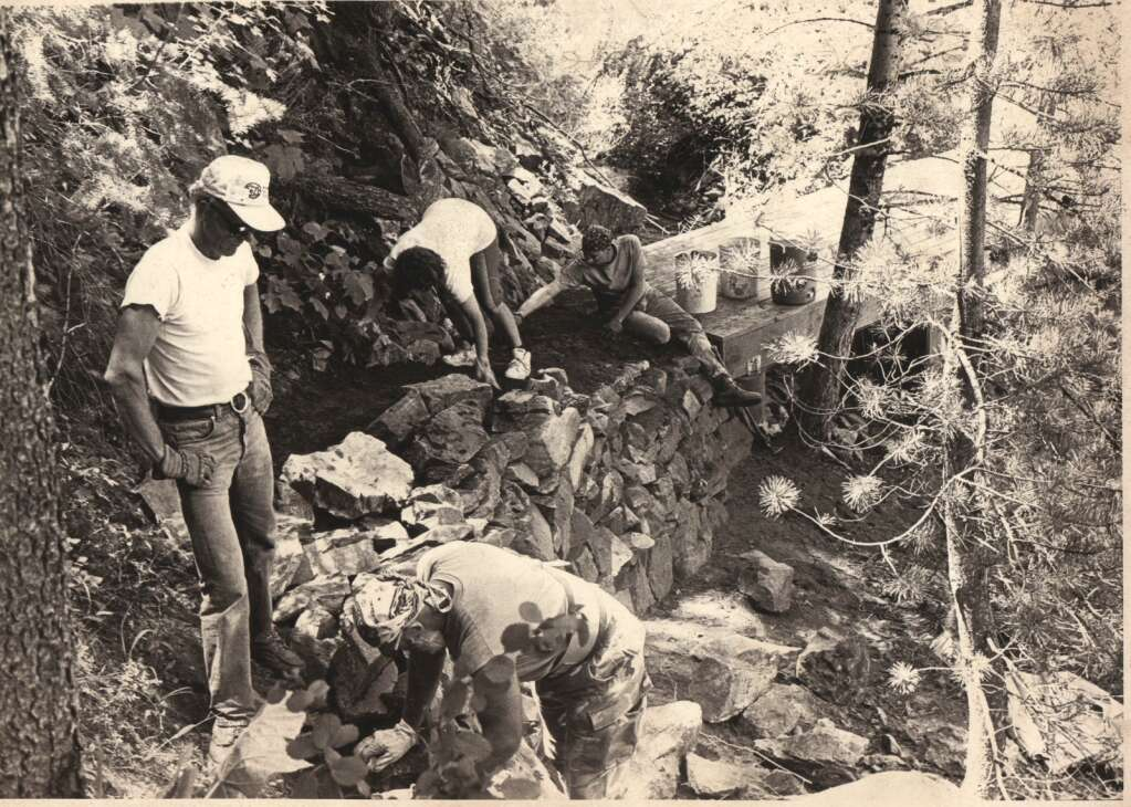 Volunteers work to build the Spring Creek Trailhead in 1992. (Photo credit: Tread of Pioneers Museum, Steamboat Pilot Collection)