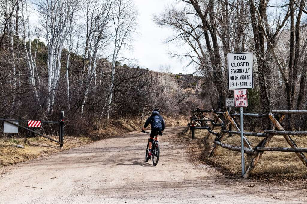 A biker rides down Prince Creek Road the day it reopened for the season in Carbondale on Wednesday, April 15, 2020. (Kelsey Brunner/The Aspen Times)