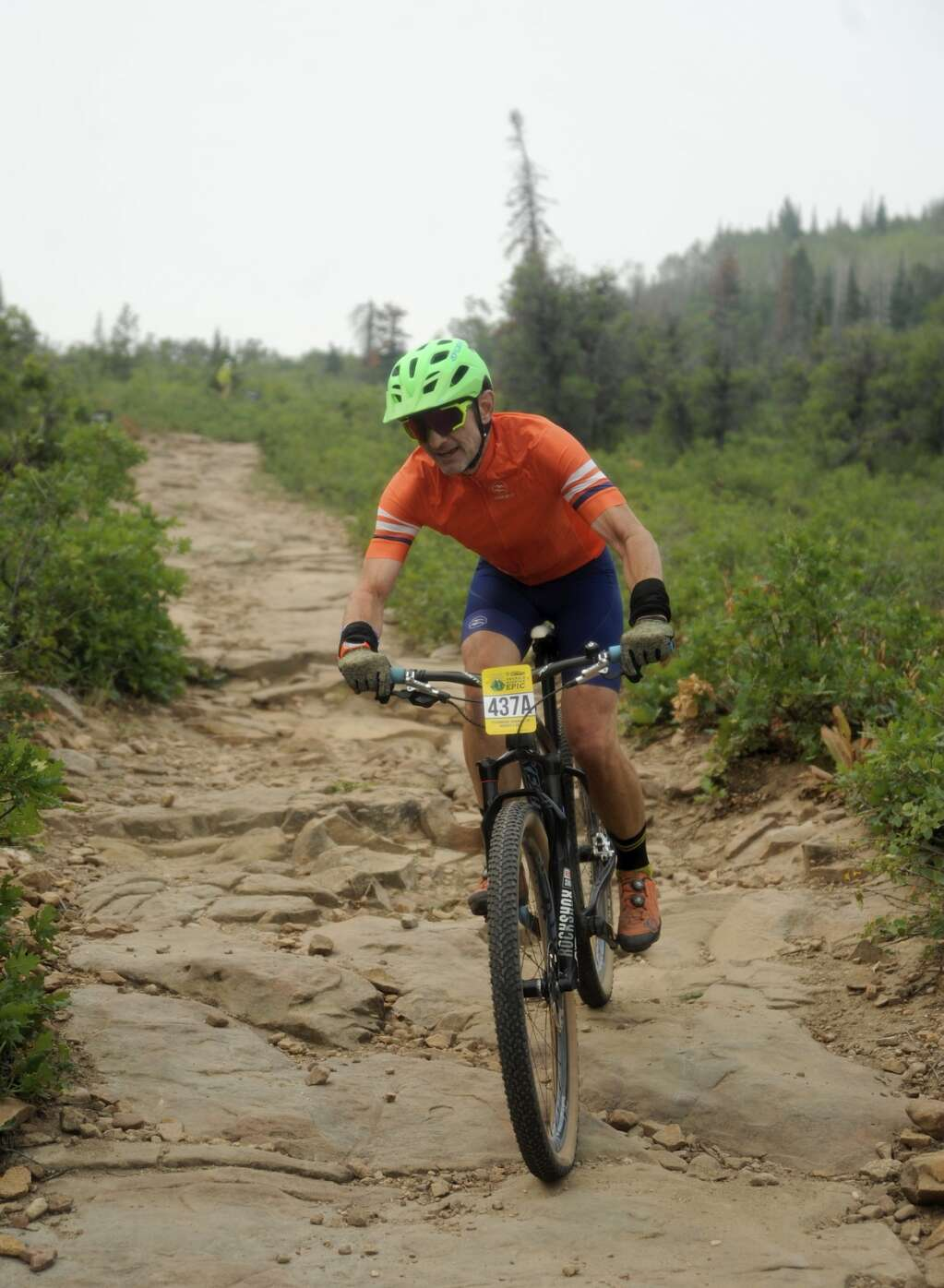 Cyclists were audibly relieved as they reached the bottom of the Little Moab descent on the Emerald Mountain Epic course on Saturday morning. (Photo by Shelby Reardon)