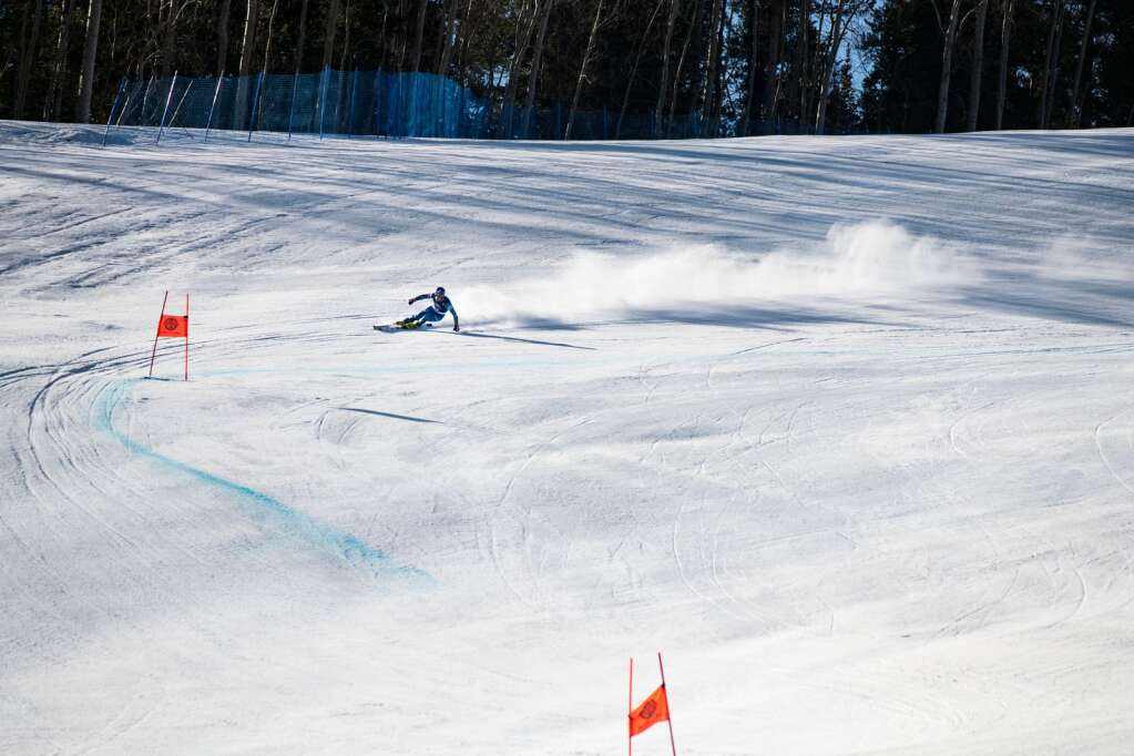 American alpine skier Sam Morse competes in his first run in of the Men's Downhill National Championships at Aspen Highlands on Saturday, April 10, 2021. Morse finished in third place. (Kelsey Brunner/The Aspen Times)
