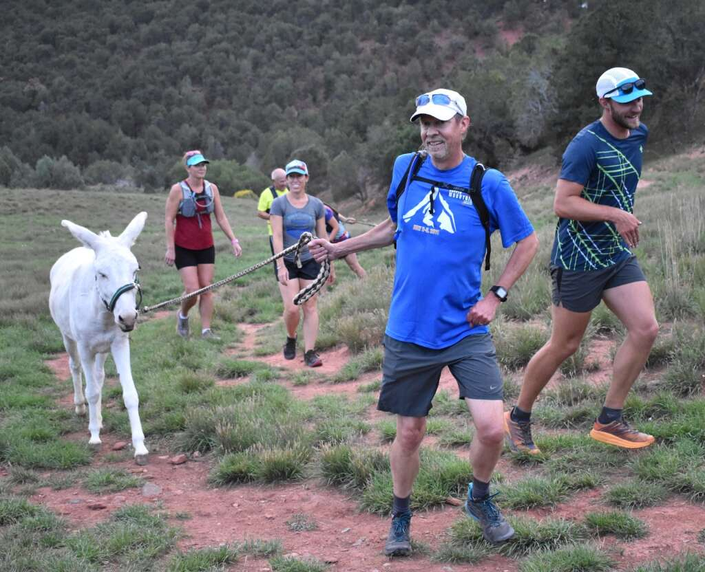Charleston seems to have a mind of his own as the Post Independent's John Stroud attempts to get him up to pace during the Independence Run & Hike burro run at Sutey Ranch on Aug. 26, 2021. | Tami Stroud/Courtesy photo