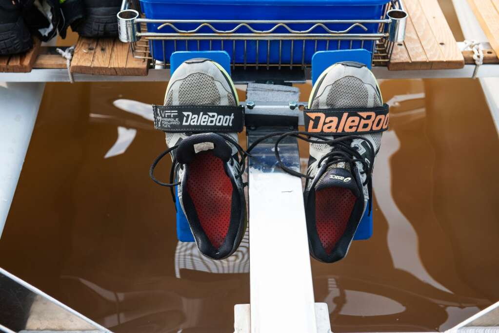 Jack Rafferty's tennis shoes stay snuggly in place after he finishes rowing on Ruedi Reservoir on Tuesday, July 13, 2021. (Kelsey Brunner/The Aspen Times)