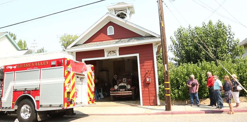 The doors of Reliance Hose Co. No. 3 were opened during the traditional bell ringing ceremony held Aug. 30 to honor the passing of former Grass Valley Chief John Straka, who was chief from 1981 to 1985 and helped pave the way for the Grass Valley Fire Department. | Photo: Elias Funez