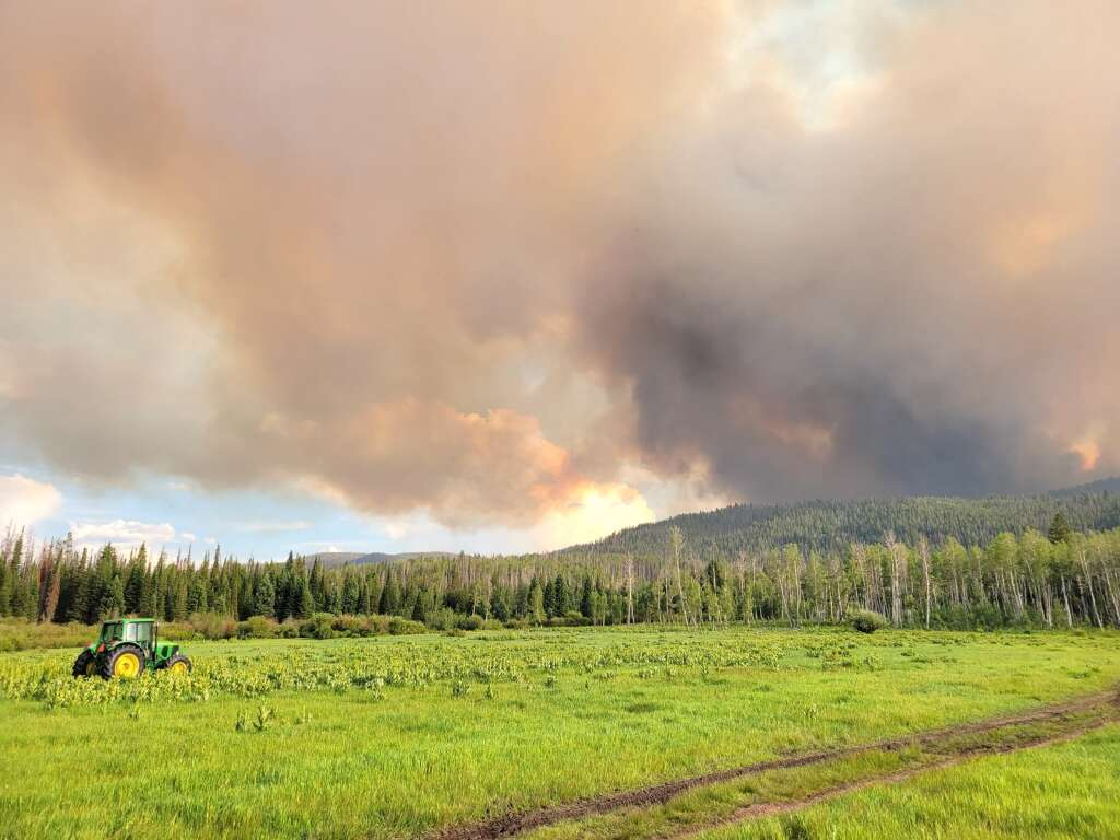 The Muddy Slide Fire from the Hideaway Ranch off Routt County Road 16 to the east of the fire on June 22. (Photo by Dylan Anderson)