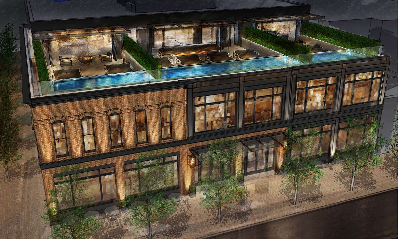 An architect's rendering to a rooftop pool in a new hotel on Hyman Avenue.