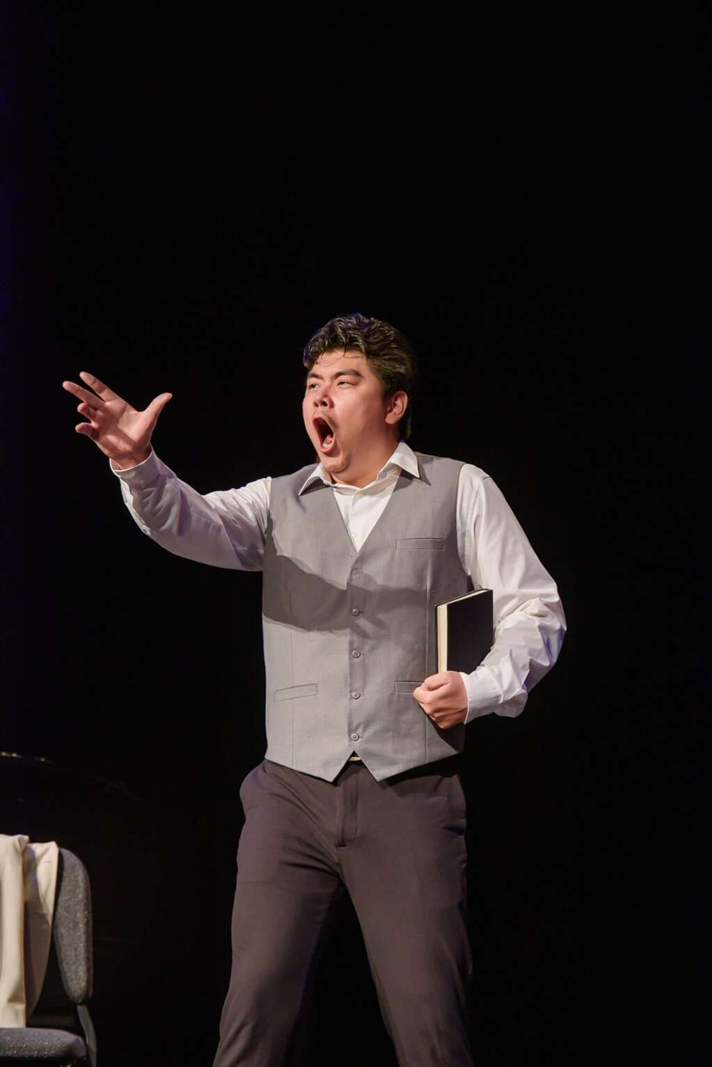 William Guanbo Su, bass, at a recent opera scenes master class at the Wheeler Opera House.