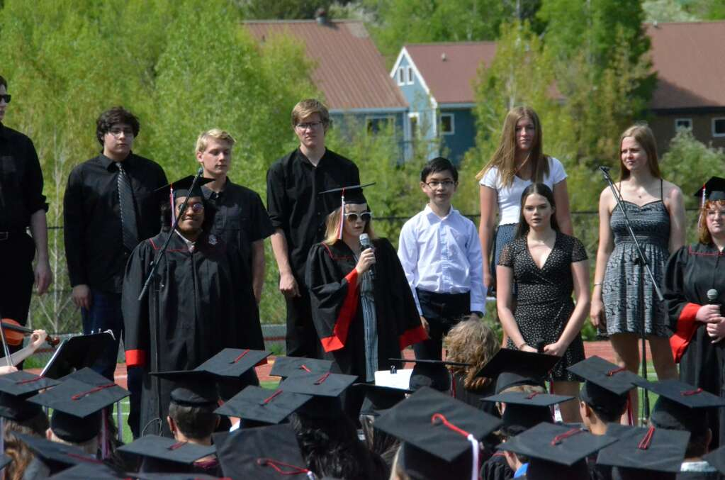 Members of the Steamboat Springs High School Band and Choir perform