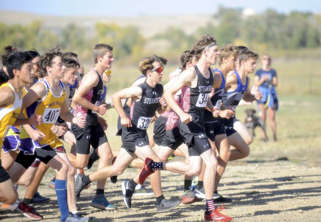 The Steamboat Springs boys team takes off from the start at a cross country meet at Loudy-Simpson Park in Craig on Saturday morning.   Shelby Reardon/Steamboat Pilot & Today