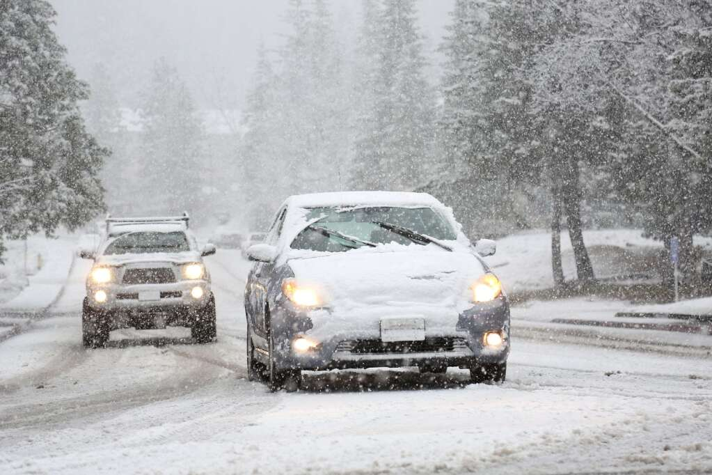 Low snow snarled traffic in and around Grass Valley and western Nevada County Jan. 16. Vehicle collisions and spinouts occurred along most major thoroughfares. | Photo: Elias Funez