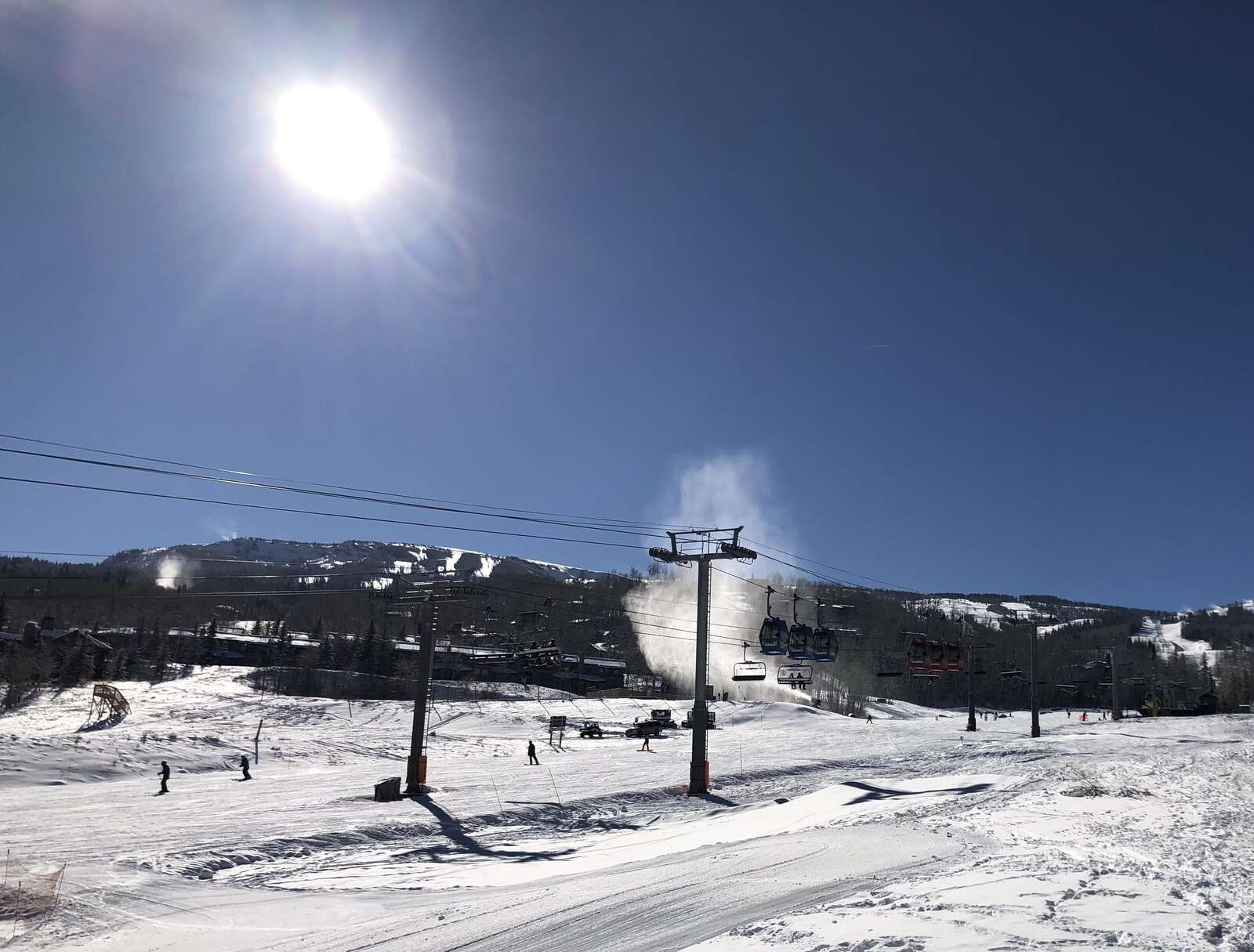 The sun shines on a bluebird day for the season opener at Snowmass on Nov. 25, 2020.