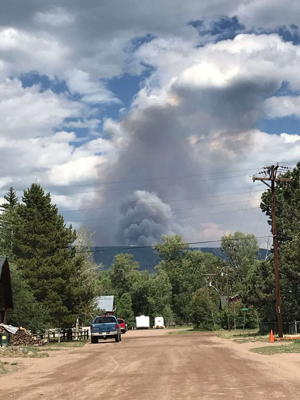 Crews from multiple agencies are responding to the Muddy Slide Fire on June 20 east of Yampa near the Muddy Slide Trail in the Medicine Bow-Routt National Forest. This is a view of the smoke from downtown Yampa. (Photo by Kari Dequine Harden)