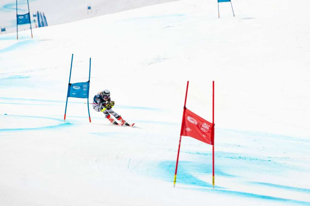 American alpine skier Tricia Mangan competes in the Women's Giant Slalom National Championship at Aspen Highlands on Thursday, April 15, 2021. Mangan finished third overall. (Kelsey Brunner/The Aspen Times)