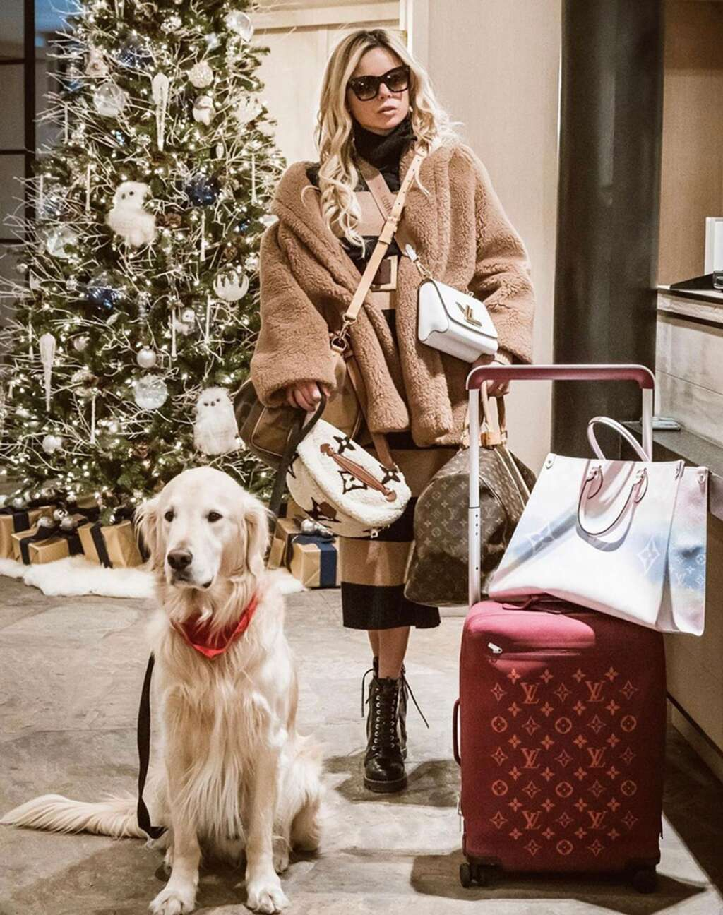 Cashmere the Golden and Erica Pelosini arriving in Aspen for the holidays. Courtesy photo.