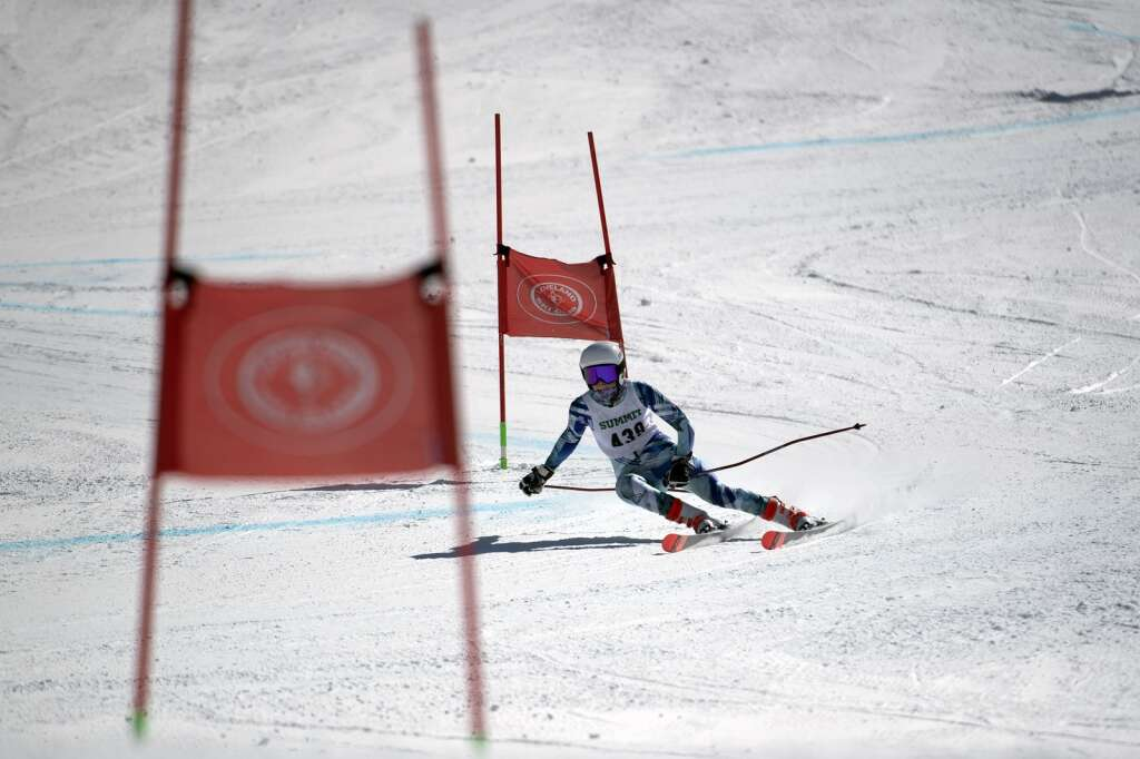 Summit High School Alpine ski team racer Ella Snyder competes in the girls giant slalom race during the Colorado High School State Alpine Ski Championships at Loveland Ski Area on Friday, March 12, 2021.   Photo by Jason Connolly / Jason Connolly Photography