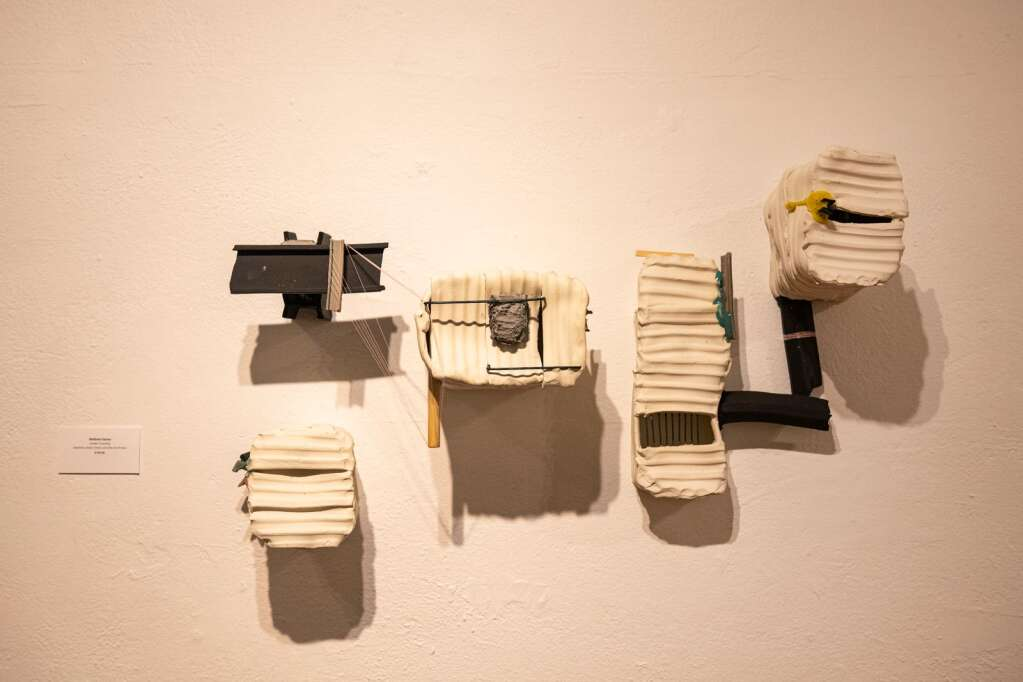 A sculptural pieced by Matthew Eames is displayed on the wall of the Red Brick Center for the Arts' new exhibition Line and Form in Aspen on Wednesday, June 2, 2021. (Kelsey Brunner/The Aspen Times)