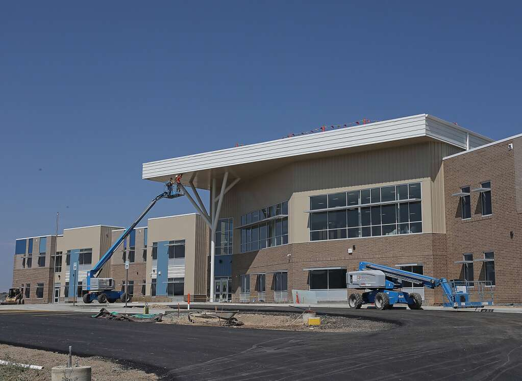 The exterior of the new Sleeping Giant School is nearly complete as the school approaches its Aug. 23 grand opening and first day of classes on Aug. 24. (Photo by John F. Russell)