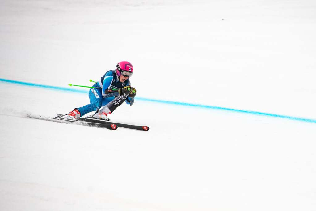 Canadian alpine skier Sarah Bennett competes in the Women's Super G National Championships at Aspen Highlands on Tuesday, April 13, 2021. Bennett finished in 4th place. (Kelsey Brunner/The Aspen Times)