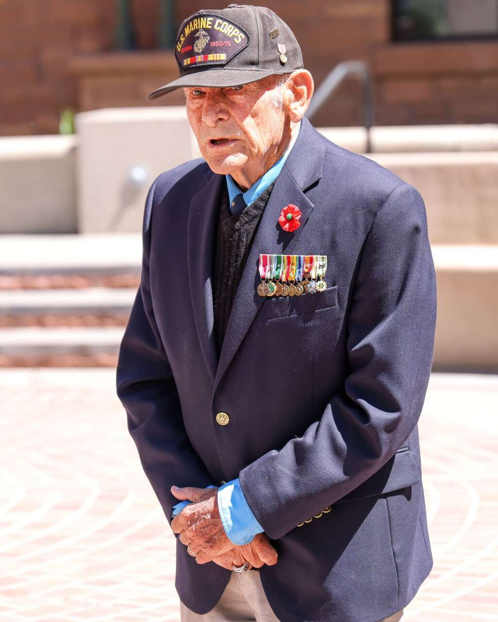 Retired Marine Lt. Col. Dick Merritt speaks during the annual Memorial Day ceremony on Monday, May 31, 2021, at Pitkin County Veterans Memorial Park in Aspen. Photo by Austin Colbert/The Aspen Times.
