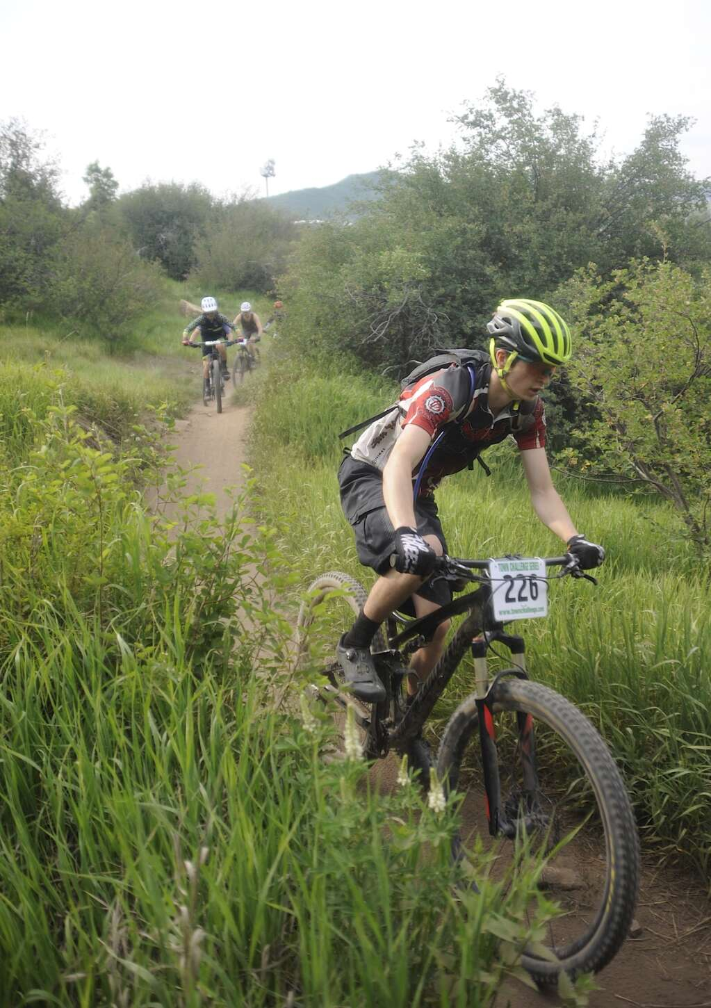 The sport group navigates the singletrack at the Town Challenge Emerald Endurance race on Wednesday evening. (Photo by Shelby Reardon)