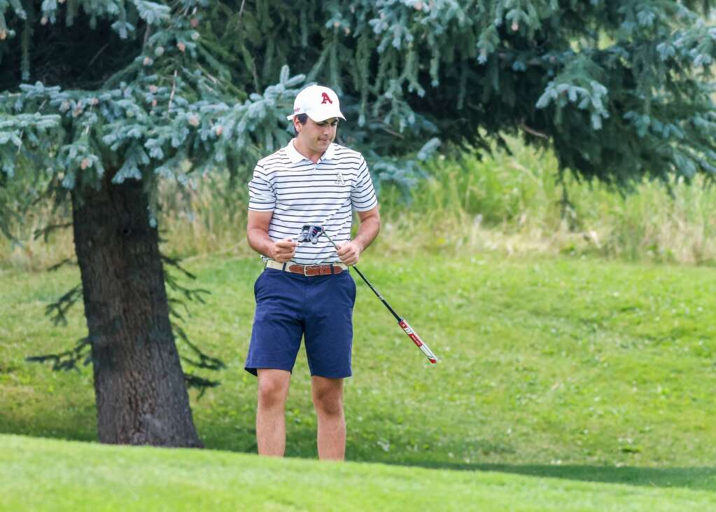 Aspen High School golfer Will Stiller competes in the Skiers' home tournament on Monday, Aug. 16, 2021, at Aspen Golf Club. Photo by Austin Colbert/The Aspen Times.