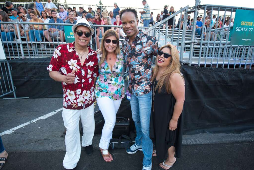 John Paris of Earth, Wind & Fire poses with friends before taking the stage at Harvey's Lake Tahoe on Saturday, July 10.