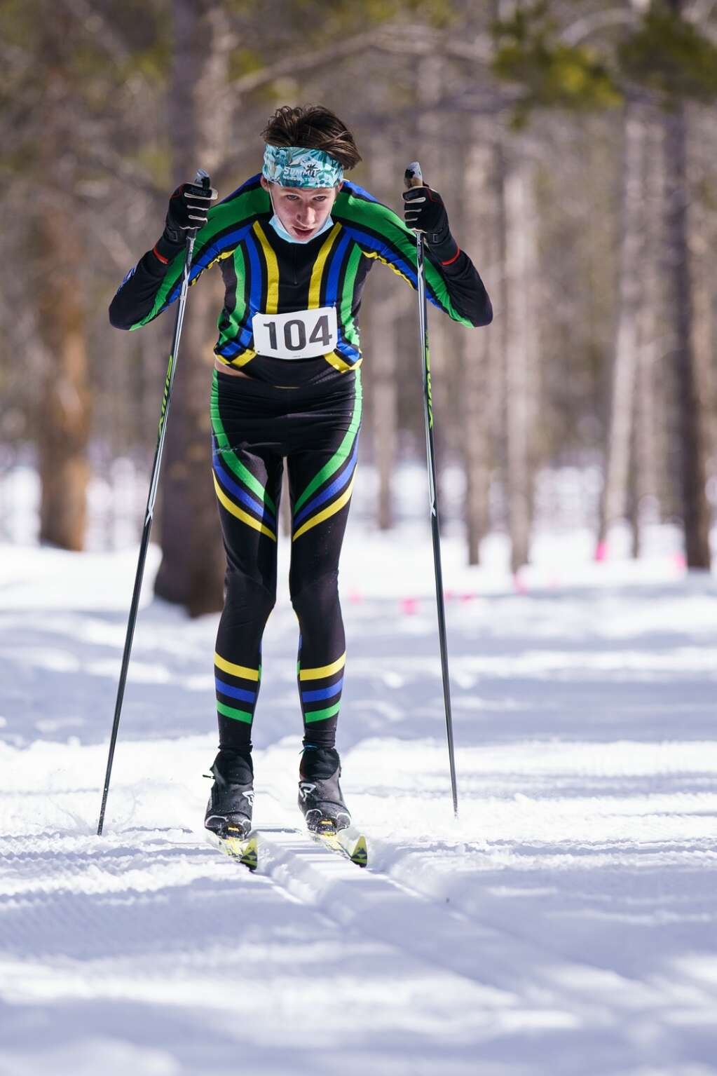 Evan Callahan poles his way through the woods during the CHSSL Ski Race held at the Leadville Colorado Mountain College campus. | Photo by John Hanson