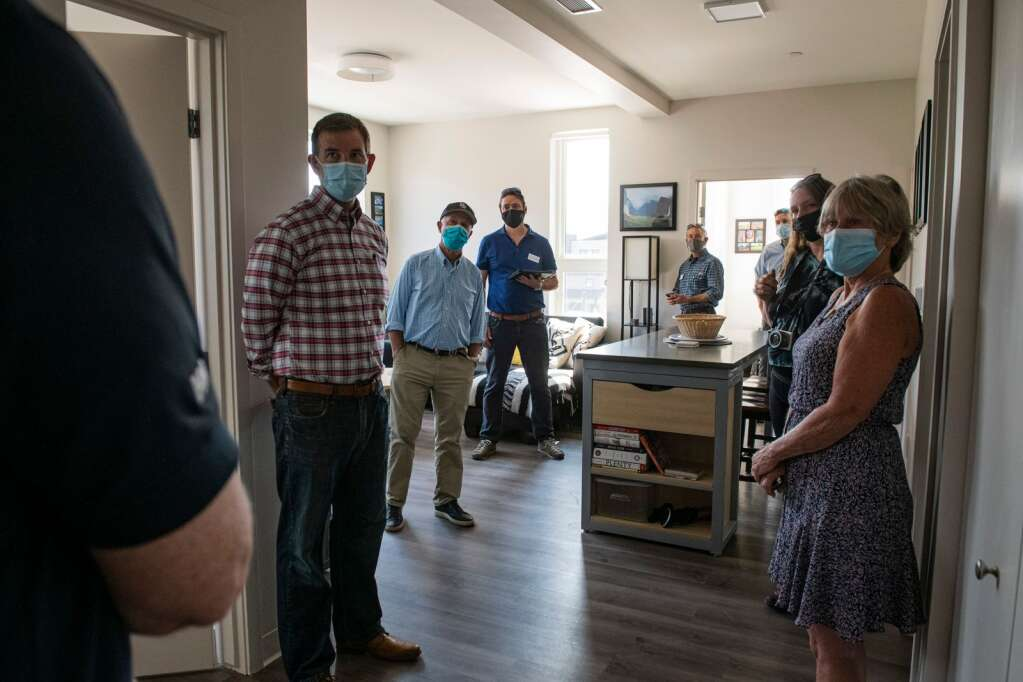Members of the public get a tour of Skico's new affordable housing project on Thursday, Sept. 9, 2021. (Kelsey Brunner/The Aspen Times)