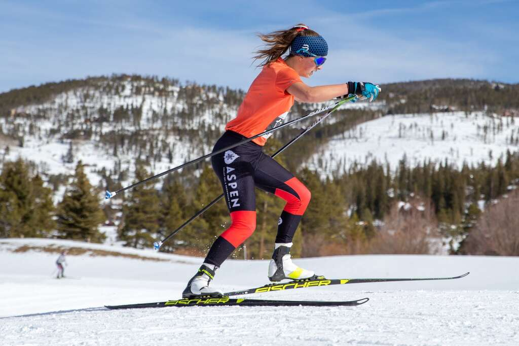 Aspens Elsie Weiss competes in the girls 3k skate at the 2021 Colorado Nordic Ski State Championships held at the Gold Run Nordic Center in Breckenridge on Saturday, March 6.  (photo by Liz Copan / Studio Copan)