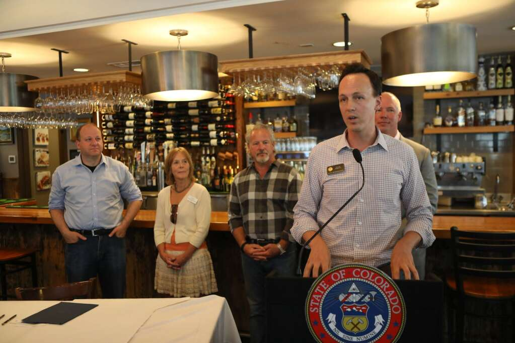 Rep. Dylan Roberts (D-26) speaks on the benefits of HB21-1027 Continue Alcohol Beverage Takeout And Delivery bill. This bill was signed by Gov. Jared Polis on Tuesday at Northside Kitchen in Avon. Roberts was one of the bill's sponsors.