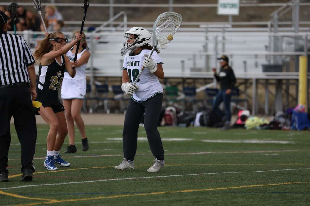 Summit High School girls varsity lacrosse senior goalie Sydney Mullins looks for an outlet pass during the season opener vs. Battle Mountain on May 8 in Breckenridge. | Photo by Ashley Low / Ashley Low Photography