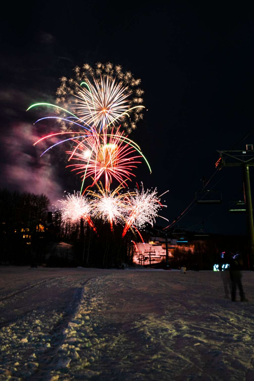A short fireworks display for New Years Eve in Snowmass Village on Thursday, Dec. 31, 2020. (Kelsey Brunner/The Aspen Times)