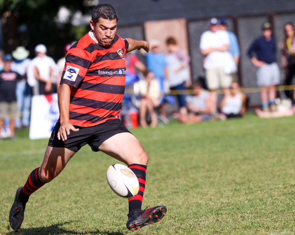 The Gentlemen of Aspen Rugby Club's Mark Gerrard, an Australian rugby icon, kicks the ball during their match against the American Raptors in the final of Ruggerfest 53 on Sunday, Sept. 26, 2021, on Wagner Park in downtown Aspen. Photo by Austin Colbert/The Aspen Times.