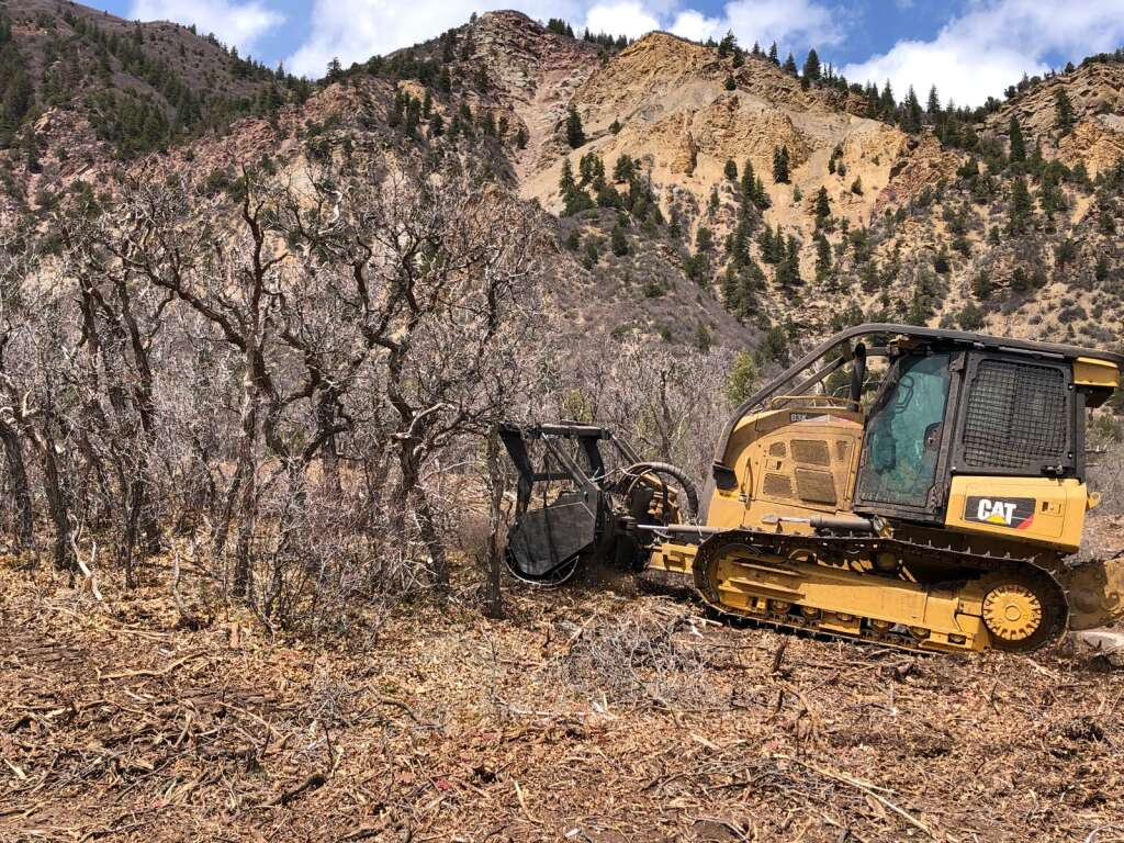 A bulldozer with an industrial-sized mulcher eats through decadent oak brush on national forest in the Crystal Valley on Thursday, April 22. | Scott Condon/The Aspen Times