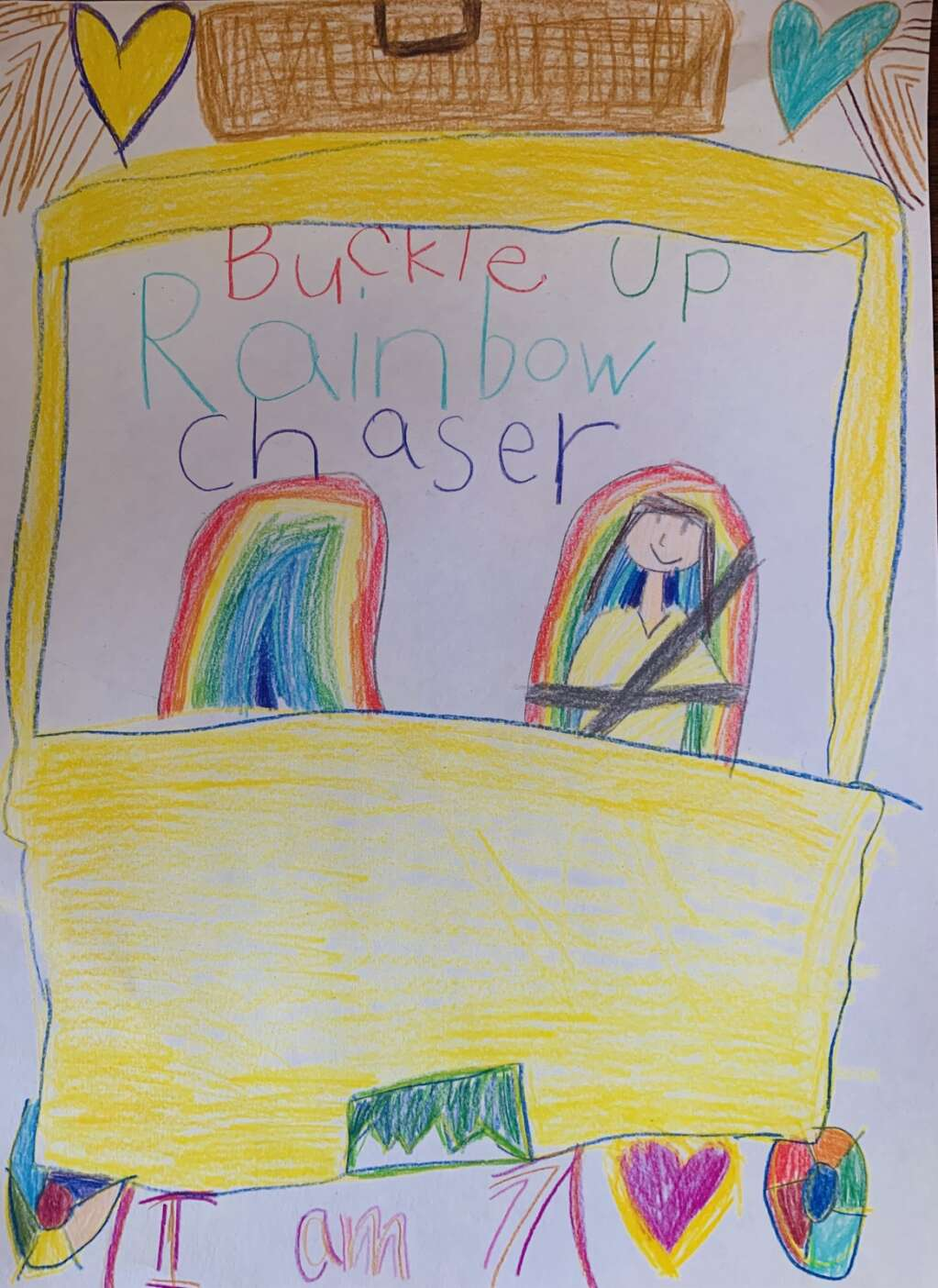 One of the winning entries for the 2021 Summit Rides Safe Poster Contest was made by Wrenn. The contest ran the month of June and encouraged local youths to submit entries to spread awareness about child passenger safety. | Photo from Summit County