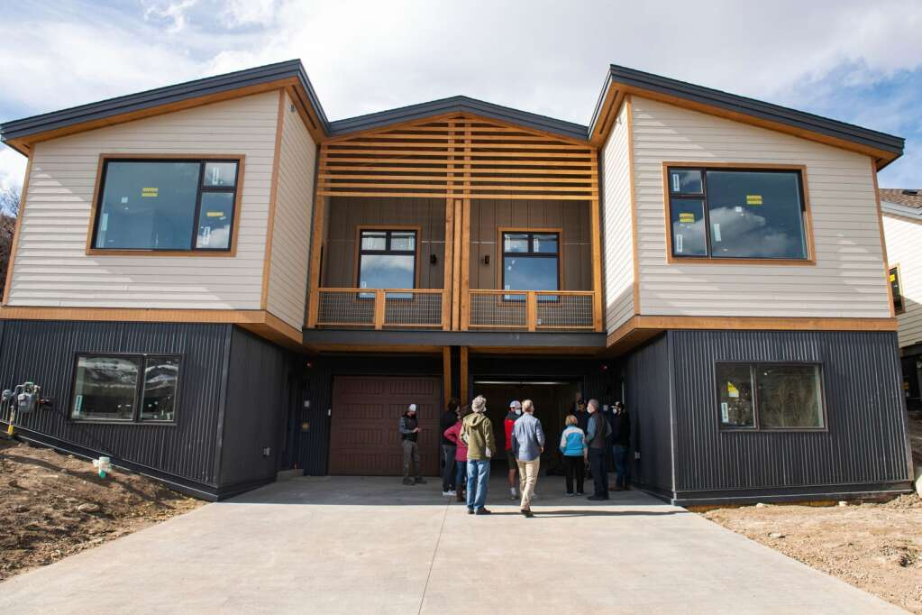 Snowmass Town Council tour one of the Coffey Place duplex units in Snowmass Village on Monday, April 12, 2021. (Kelsey Brunner/The Aspen Times)