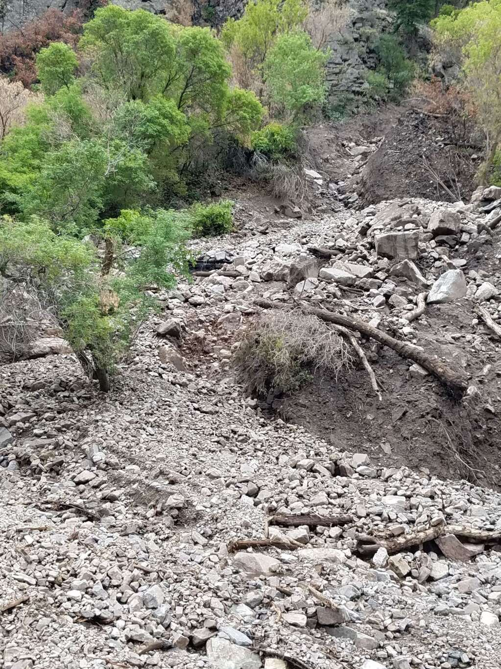 A look at the mud and debris that Colorado Department of Transportation officials and river resource experts are dealing with along Interstate 70 in Glenwood Canyon after multiple days of heavy monsoon season rains.| Courtesy CDOT