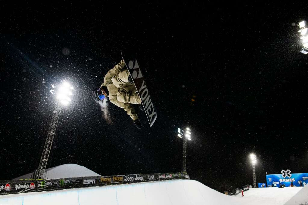 Japanese snowboarder Ruka Hirano practices in the Buttermilk Superpipe on the first evening of practice for the 2021 X Games Aspen on Tuesday, Jan. 26, 2021. The final events will kick off this Friday with practices leading up to the weekend. The event is closed to spectators this year.(Kelsey Brunner/The Aspen Times)