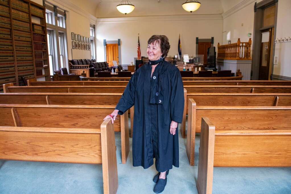 Pitkin County Judge Erin Fernandez-Ely in the district courtroom of the courthouse. (Kelsey Brunner/The Aspen Times)