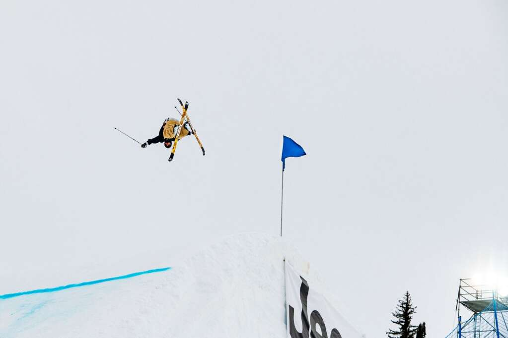 Swedish freestyle skier Henrik Harlaut practices for Big Air on the course at Buttermilk during the 2021 X Games Aspen on Thursday, Jan. 28, 2021. (Kelsey Brunner/The Aspen Times)