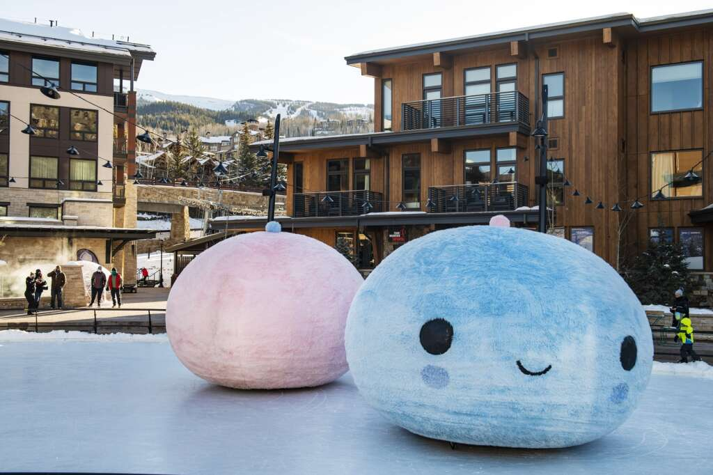 Skico and FriendsWithYou stage Art in Unexpected Places installations in the rink in Snowmass Base Village on Wednesday, Jan. 6, 2021. (Kelsey Brunner/The Aspen Times)