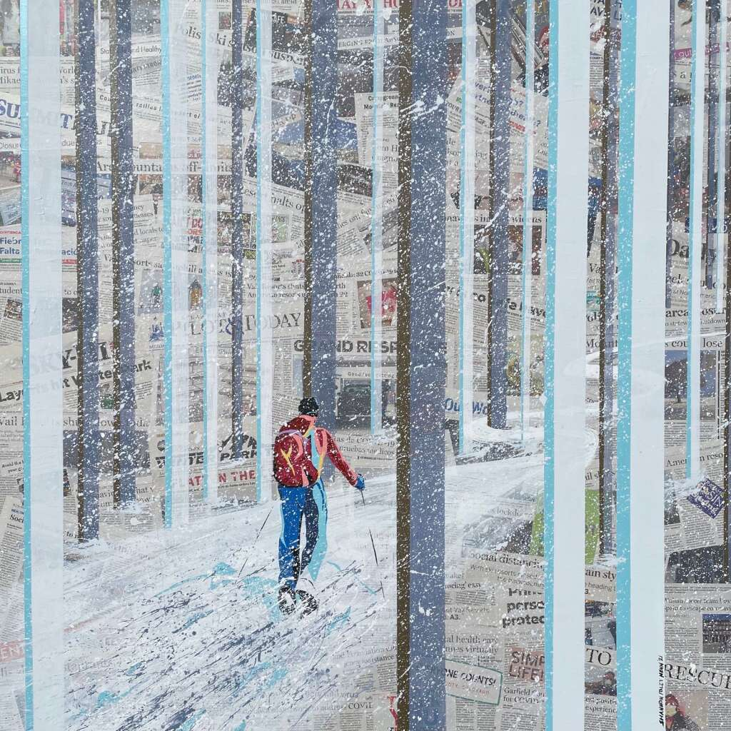 After Henn laid down the newspaper, she painted the cross-country skier and forest using acrylic and chalk paint. | Courtesy Shannon Foley Henn