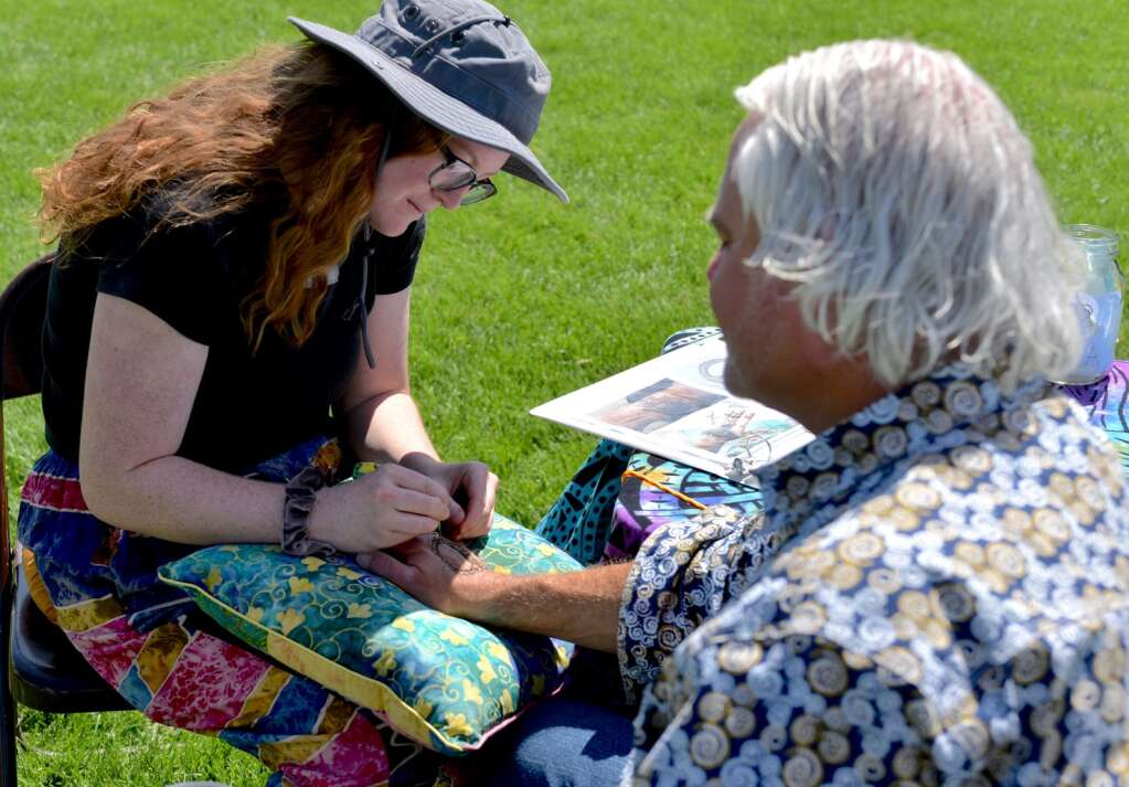 Henna was part of the many activities offered during Art in the Park on Saturday, Sept. 3, 2021, at Polhamus Park in Granby.   Amy Golden/Sky-Hi News