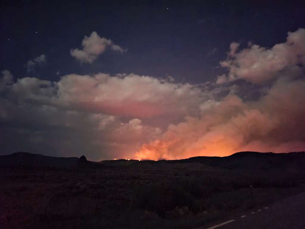 The Muddy Slide Fire as seen from Colorado Highway 134 just to the east of Toponas at about 1 a.m. on Wednesday. | Dylan Anderson/Steamboat Pilot & Today