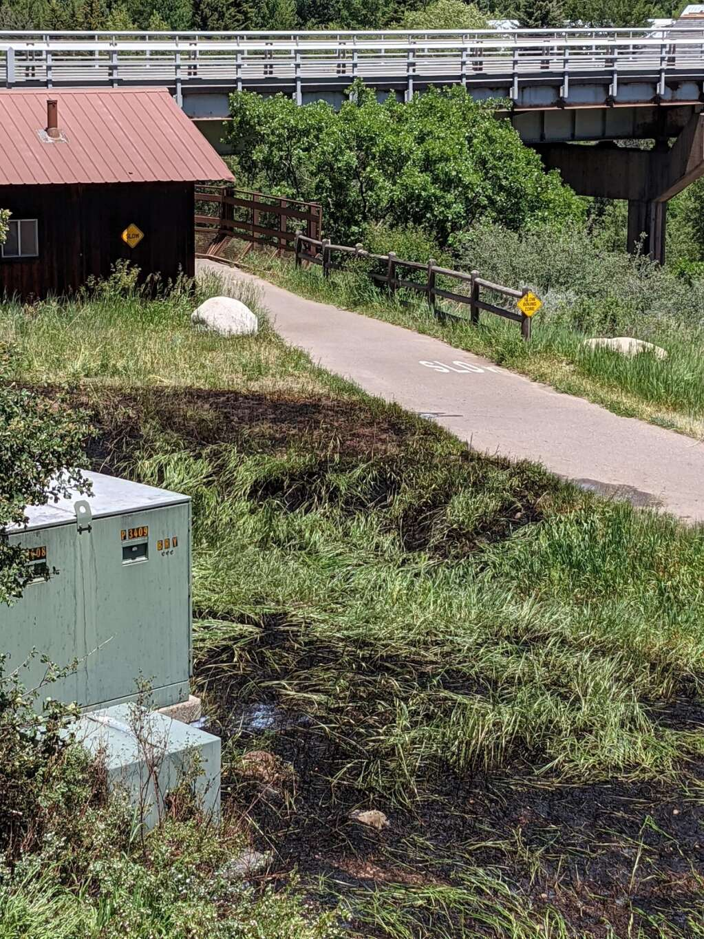 A small fire that broke out near the Castle Creek bridge and Marolt Open Space burned about a quarter acre of land just west of Aspen on Sunday, June 13, 2021.   Charlie Curtis, Aspen Fire/Courtesy photo
